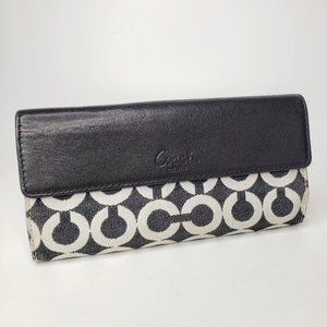 Coach Peyton Logo Leather Lined Turn Latch Wallet